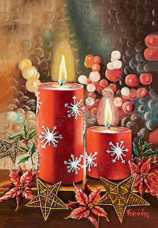 Weihnachtliches Motiv Mit Kerze
