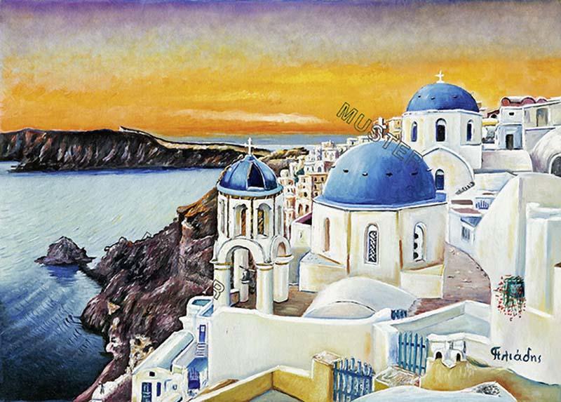 The greatest sunset of Greece on Santorini island