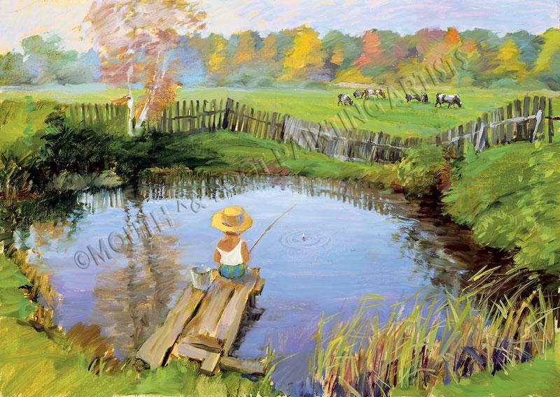 Junge m.Hut angelt im Teich,Kuhe auf der Wiese