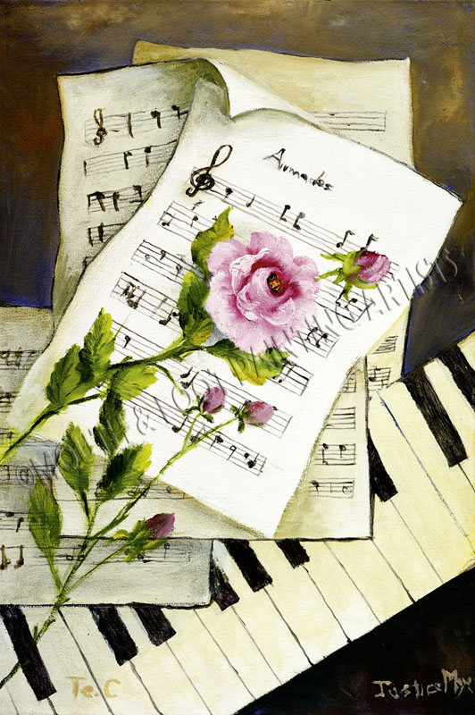 Pink rose with music notes
