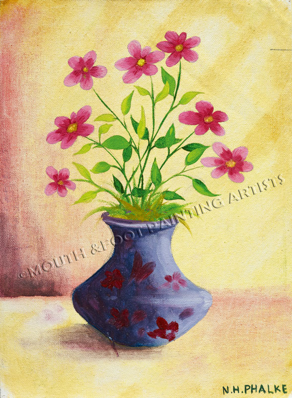 Childs vase of flowers