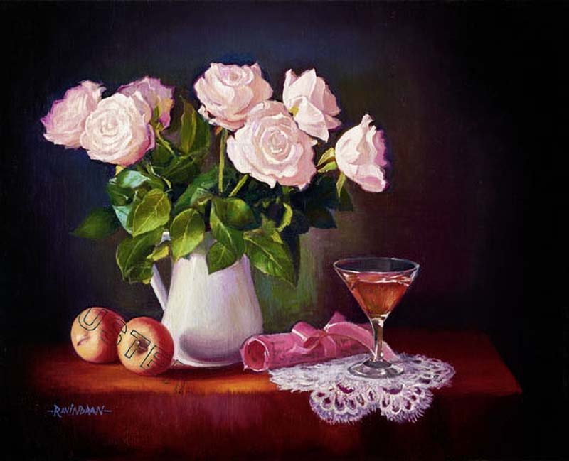 Roses with wine glass