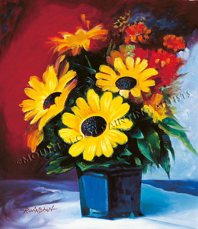 Pot of Sunflowers