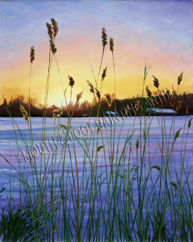 Winter grass sunset