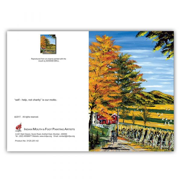 Haystacks beside a Country road (Set of 5)