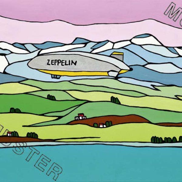 Zeppelin fliegt über See und Wiese
