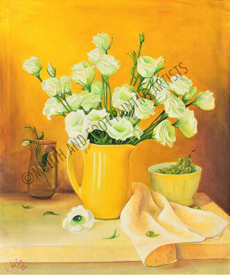 White Flowers in a Yellow Jar